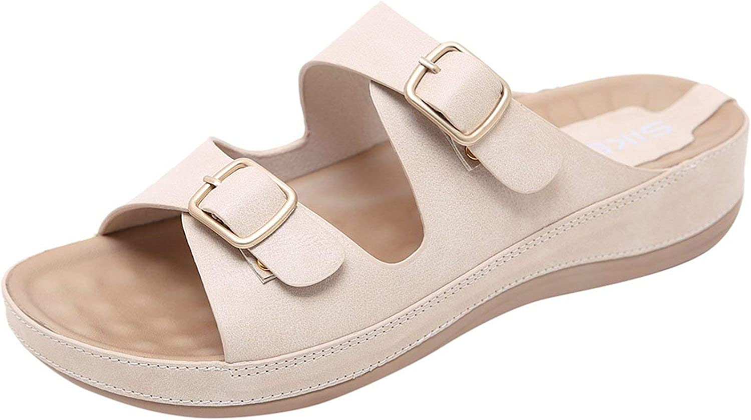 Slippers Buckle Real Leather Slides shoes Solid Thick Sole Heels Beach Sandals