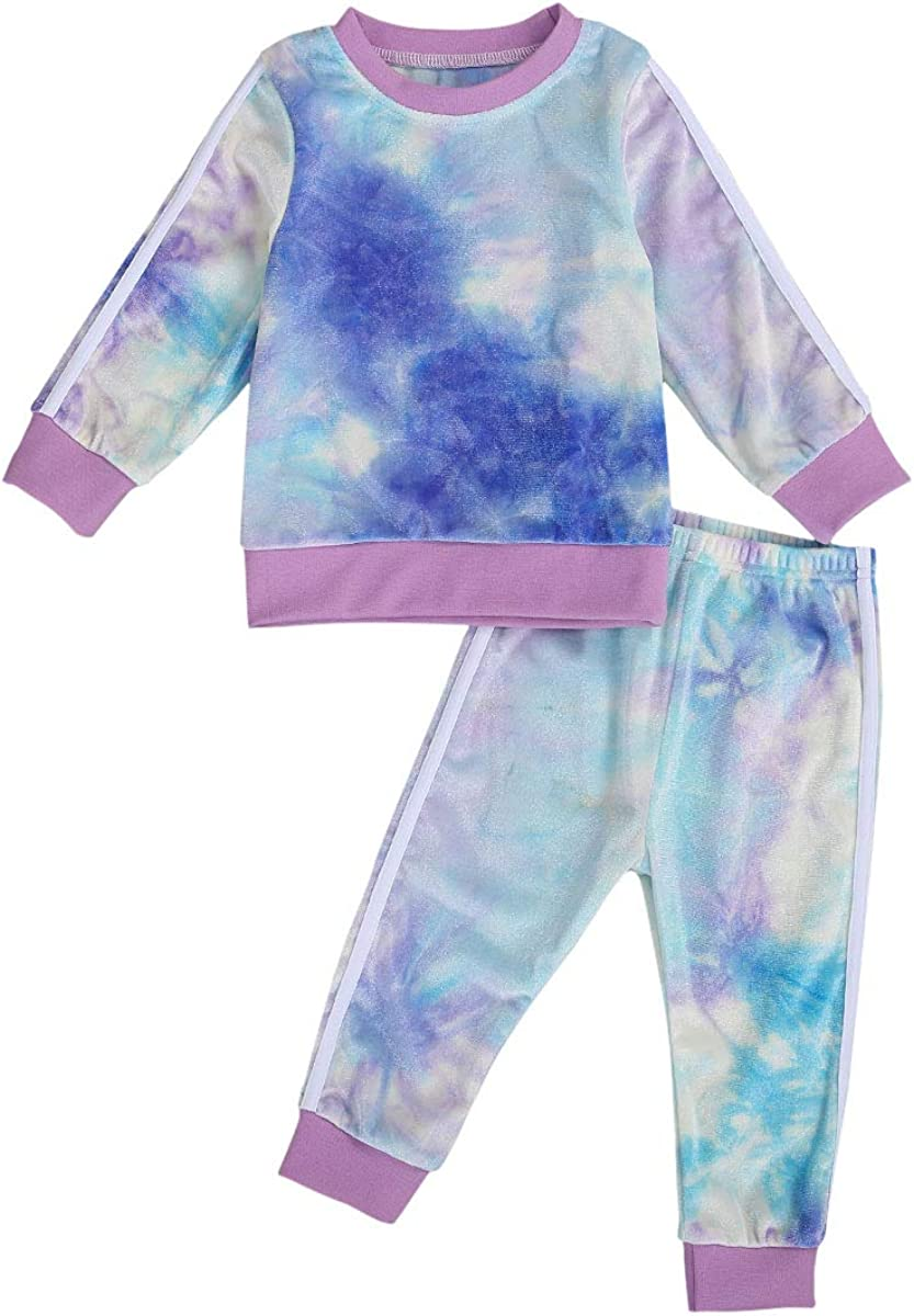Toddler Kids Baby Boy Girl Tie Dye Outfit Hoodie Sweatshirt Top Jogger Pants 2 Piece Clothes