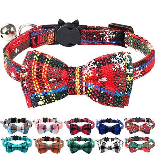 Joytale Weihnachts Katzenhalsband mit Glöckchen und Sicherheitsverschluss, Verstellbarer Weicher Halsband mit Schleife Krawatte für Katzen und Kitten, 1 Pack, Weihnachten Rot