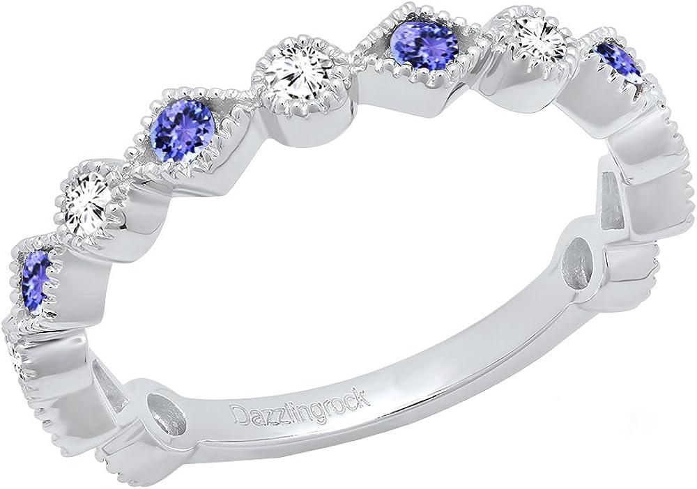 Dazzlingrock Collection 14K Round Gemstone & White Diamond Ladies Stackable Wedding Band Ring, White Gold
