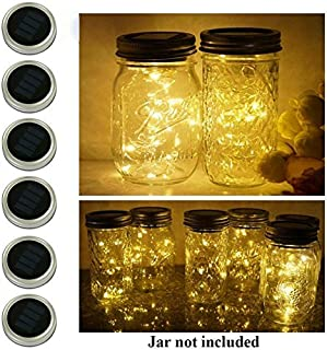 6 Pack Mason Jar Lights, 10 LED Solar Warm White Fairy String Lights Lids Insert for Garden Deck Patio Party Wedding Christmas Decorative Lighting Fit for Regular Mouth Jars