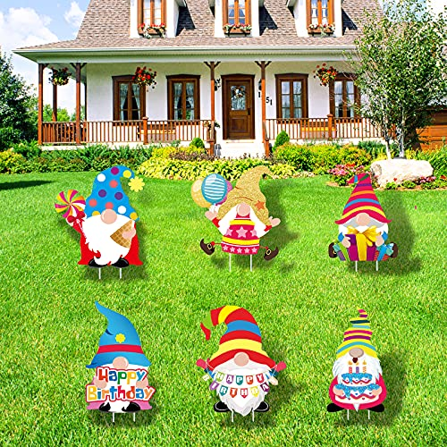Gukasxi 6Pcs Gnomes Happy Birthday Yard Signs with Stakes Colorful Happy...