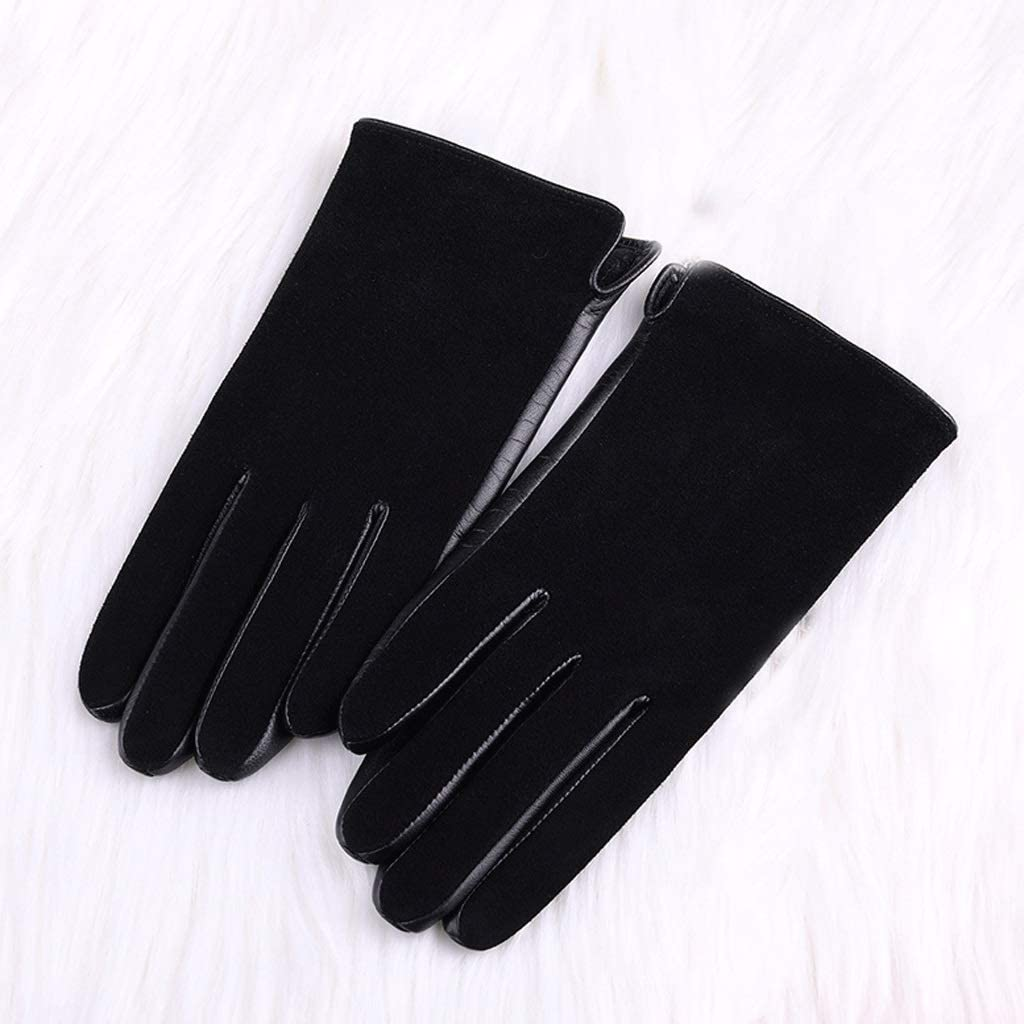 Zcx Women's Winter Touch Screen Plus Velvet Warm Leather Suede Spring and Autumn Sheepskin Gloves (Color : Black, Size : L)