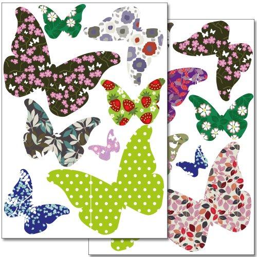 Wandkings Schmetterlinge als Vogelschutz und Fensterdekoration Sticker Set, 16 bunte Aufkleber, 2 DIN A4 Bögen, Gesamtfläche 60 x 20 cm