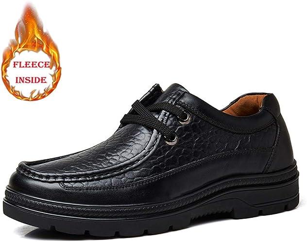 Mode pour hommes Oxfords Décontracté Décontracté Toe Round Doublé Polaire Résistant à L'usure En Plein Air Loisirs Grande Taille Chaussures ,Chaussures de cricket ( Couleur   Warm noir , Taille   46 EU )