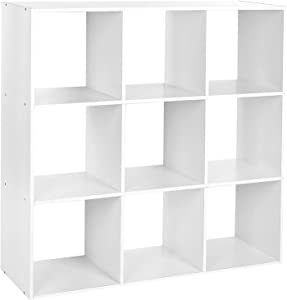 HOMFA Bücherregal Raumteiler Weiß Standregal Medienregal Raumtrenner Aktenregal Regalsystem Ordnerregal Büroregal Dekoregal 9 Fächer 91.5cm*91.5cm*30cm