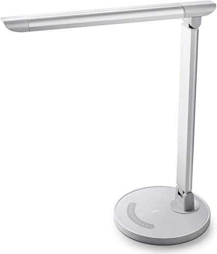 TaoTronics White Wood Grain LED Desk, Eye-Caring Table, Dimmable Office Lamp with USB Charging Port, 5 Lighting Modes...
