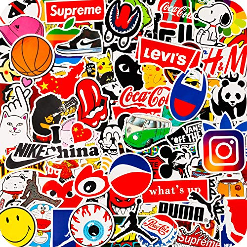 100PCS Fashion Brand Stickers, Cool Skateboard Stickers, Water Bottle Stickers Vinyl Waterproof Stickers Laptop Stickers Luggage Car Bike Bicycle for Teens
