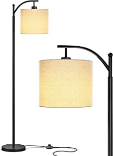 Bedroom & Living Room LED Floor Lamp - Standing Industrial Arc Light with Hanging Lamp Shade, Tall Pole Uplight for Office, by Elumaxon