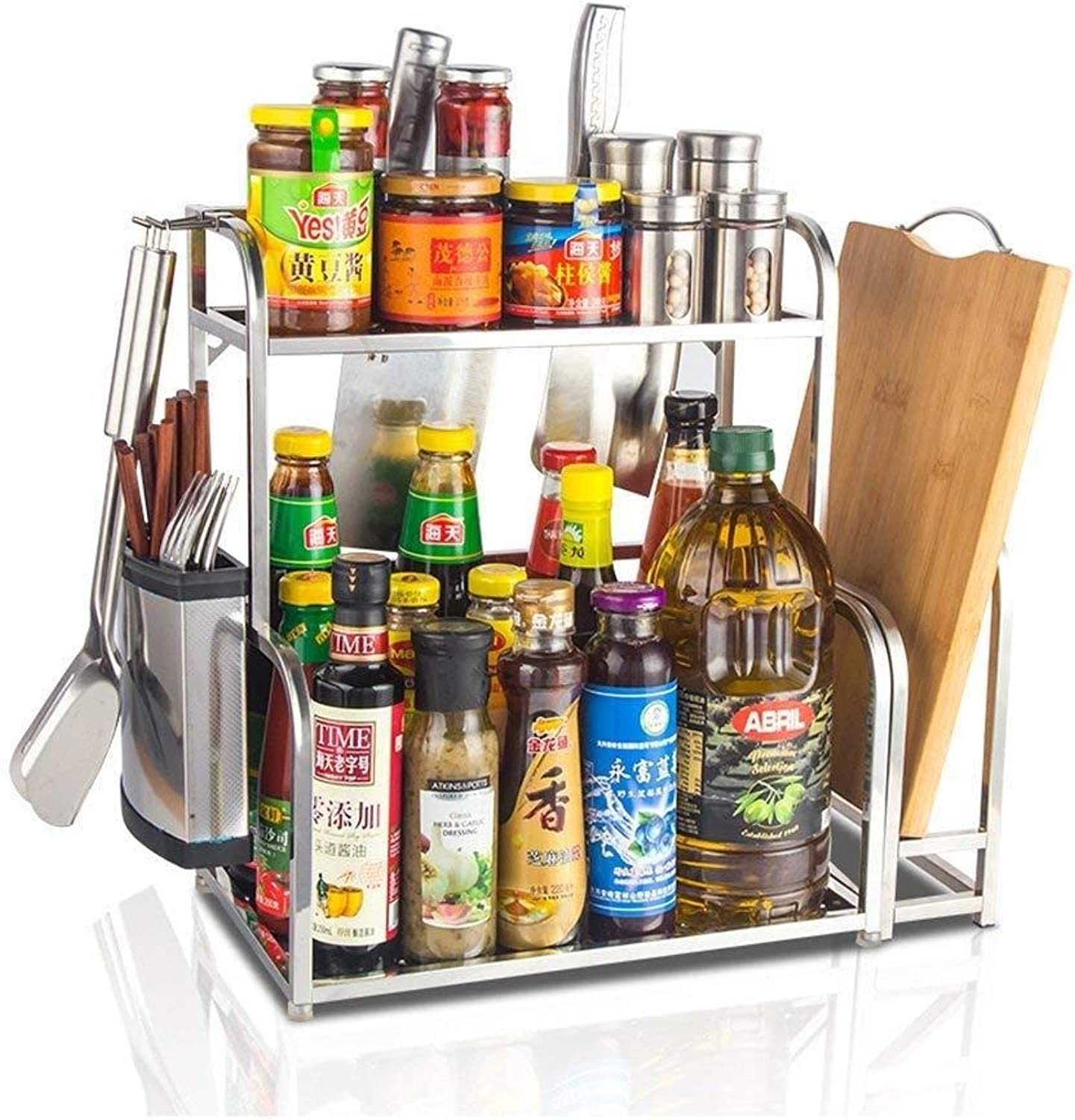 Storage Rack- 304 Stainless Steel Kitchen Rack Storage Rack Knife Cutting Board Frame Seasoning Rack Spice Rack 2 Layers ZXMDMZ (Size   Small)