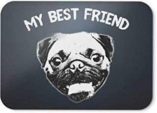 BLAK TEE My Best Friend Smilling Pug Mouse Pad 18 x 22 cm in 3 Colours Black