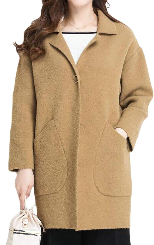 Cromoncent Women's Plus Size Stretch Warm Lapel Winter Business Peacoats