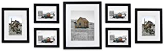 Golden State Art, Set of 7, Wall Gallery Photo Wood Frames. Includes White Mat and Real Glass. Color: Black