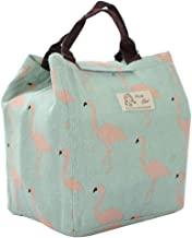 uxcell Lunch Bag Box Travel Cotton Linen Rectangle Lunch Tote Bag Dinner Warmer Cooler Picnic Insulated Pouch Bag Green w Pink Bird Pattern