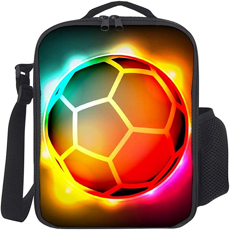 SARA NELL Glowing Soccer Ball Fire And Ice Kids Lunch Box Insulated Lunch Bag Large Freezable Lunch Boxes Cooler Meal Prep Lunch Tote With Shoulder Strap For Boys Girls
