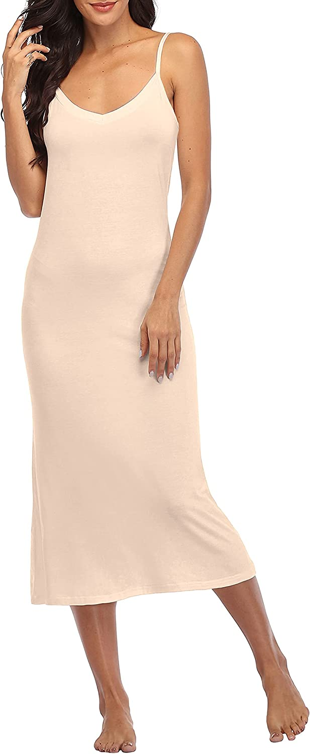 Summienlink Women's Long Full Slip for Under Dresses V Neck Nightgown Sexy Cami Dress at  Women's Clothing store