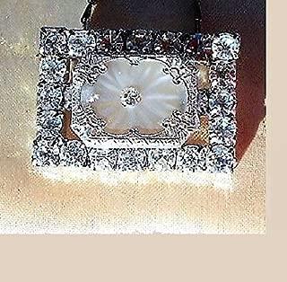 Small Lovely Art Deco Vintage Camphor Glass, Altered Vintage Rhinestone Brooch with Vintage Camphor Glass & Vintage Split Chrome Necklace. OOAK