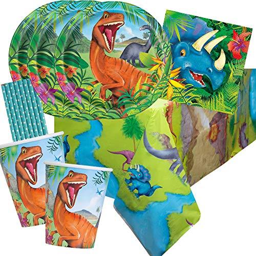spielum 41-teiliges Party-Set Dinosaurier - Teller Becher Servietten Tischdecke Trinkhalme hellblau für 8 Kinder
