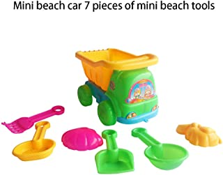Theshy 7Pcs Sand Sandbeach Kids Beach Toys Trolley Bucket Spade Shovel Rake Water Tools,for Your Spring/Summer Holiday