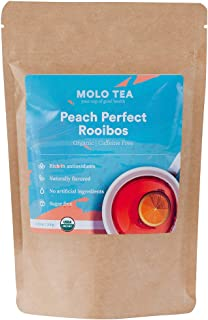 Peach Perfect Rooibos tea organic is a loose leaf African red tea that is 100% caffeine free, great tasting, sugar free, and rich in antioxidants and other health benefits; no tea bags needed