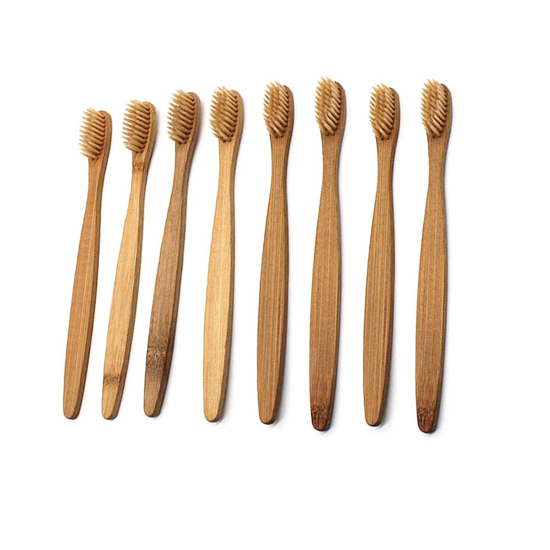 家事をする一部徹底的にHealifty 柔らかい剛毛が付いている8pcs自然なタケ歯ブラシの木のECOの友好的な歯ブラシ