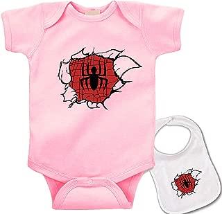 Undercover Spider-Man -Cute Spiderman Superhero Baby Bodysuit Onesie & bib Set