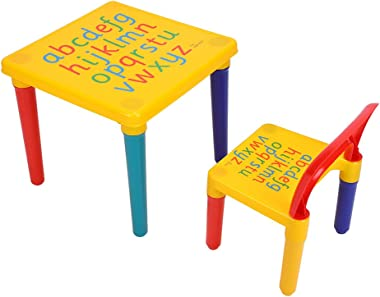 Children Table Chair Sets, 2 Piece Plastic DIY Kids Table Chairs Set Early Education Play Toddler Activity Fun Child Toy,17.7