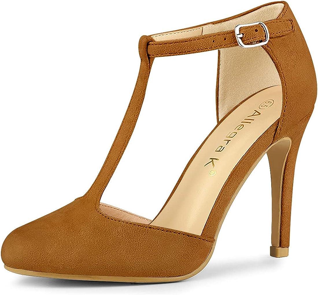 Allegra K Women's Rounded Toe Max 78% OFF Sale T-Strap Pumps Heel Dress Stiletto