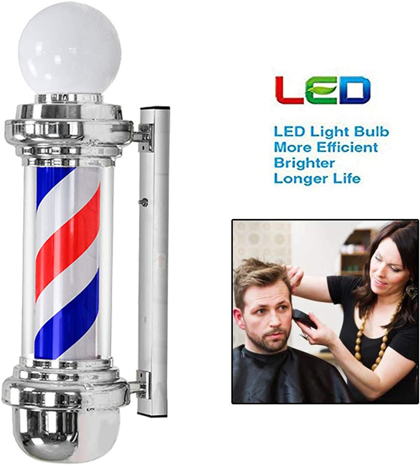 68CM 27in Barber Pole with Top Lamp Waterproof redating Red White bluee LED Strips Spinning Hairdressing Salon Light Sign Wall Lamp