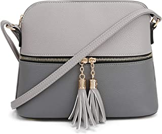Lightweight Medium Dome Crossbody Bag with Tassel | Zipper Pocket | Adjustable Strap