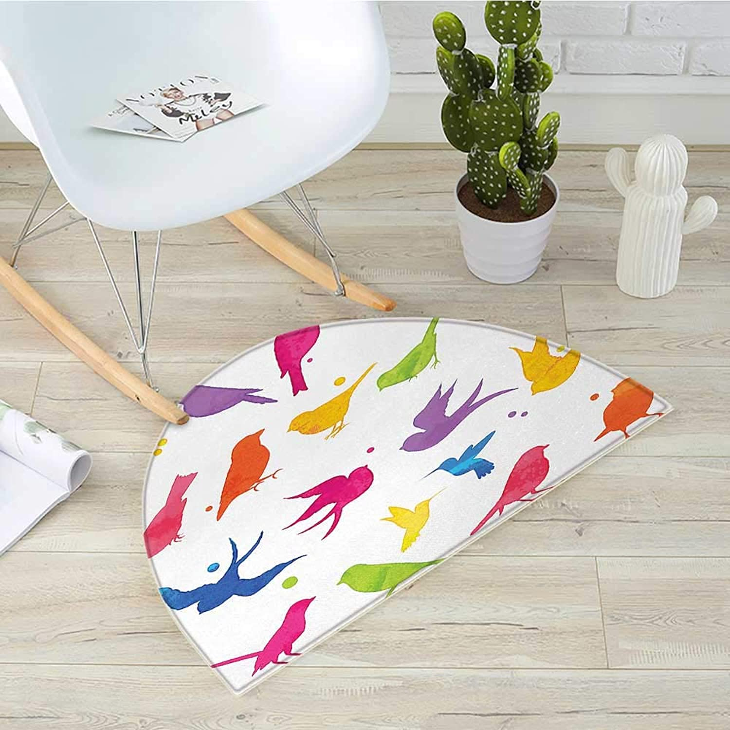 Birds Half Round Door mats colorful Silhouette Sitting and Flying Birds Happiness Buddies Friends Animal Decor Bathroom Mat H 39.3  xD 59  Multicolor