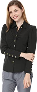 Women's Button Down Long Sleeve Casual Office Work Ruched Shirt