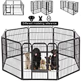 BestPet Dog Pen Extra Large Indoor Outdoor Dog Fence Playpen Heavy Duty 8 Panels 40 Inches Exercise Pen Dog Crate Cage Kennel Black