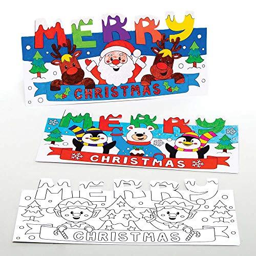 Baker Ross AX472 Weihnachtskarten zum Ausmalen Bastelset für Kinder - 10 Stück, Festliche Kreativsets und Bastelbedarf zum Basteln und Dekorieren zur Weihnachtszeit