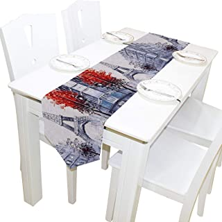 Sponsored Ad - WOOR Double-Sided Art Painting France Paris Eiffel Tower Table Runner 13 x 70 Inches Long,Table Cloth Runne...