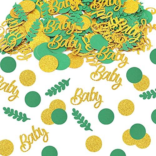 AIEX 200 Piezas Confeti para Fiesta Cumpleaños Confeti para Baby Shower Confeti para Mesa Fiesta Decoración para Bebé Decoración Cumpleaños Accesorios Celebración Letras Doradas Adornos Oro Verde