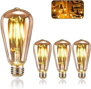 comprar comparacion Vintage Edison Bombilla, ASANMU Bombilla LED Vintage E27 ST64 4W (Equivalente a 40W) 2200K Retro Edison Lámpara Ambar Cáli...
