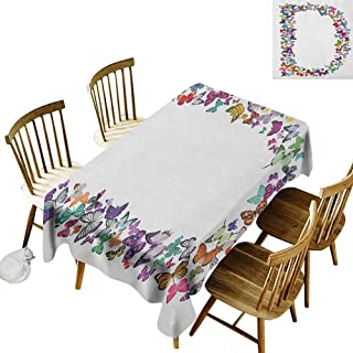 kangkaishi 3D Printed Long Tablecloth Desktop Protection pad Magical Creatures Flying Monarch Butterflies Fragility Grace Artistic Collection W60 x L102 Inch Multicolor