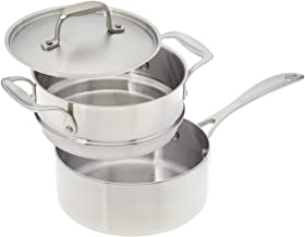 product image for American Kitchen Cookware Stainless Steel Double Boiler Set with 2-quart Saucepan and Fitted Cover; Tri-Ply Stainless Steel; Manufactured in USA