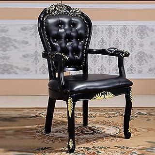 Shisyan Silla de comedor Silla de cuero Negro de madera tallada oro Silla de comedor Silla de Negociación de escritorio simple montaje Silla 2 Sillas Paquete de cocina (color: Negro, Tamaño: 62x52x109