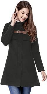 Allegra K Women's Stand Collar Zip Up Outerwear Flare Winter Long Coat