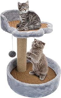 عمود خرمشة على شكل شجرة للقطط، عمود للخرمشة والتسلق للقطط من ليف السيزال الابيض المتين للعب القطط (رمادي)
