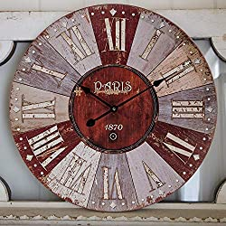 Adecor Decor Wall Clock, Vintage Antique Distressed Paris 1870 Countryside Rustic Wall Clock, Large Silent Wooden Hanging Clock for Living Room, Bedroom, Farmhouse, Apartment, School, Hotel - 24 Inch