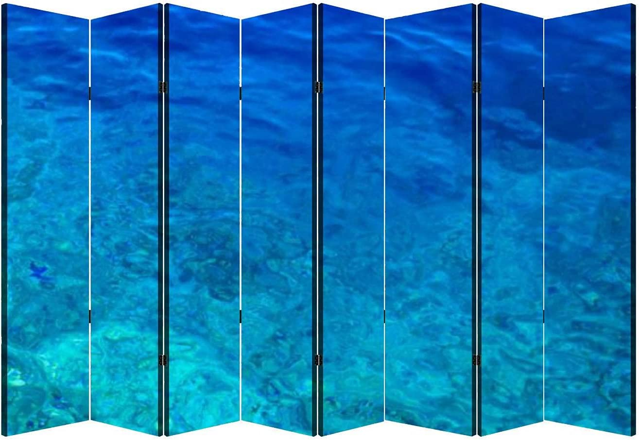 8 Panels Wall Divider Mesa Mall Blue Privacy Canvas Folding Water overseas Texture