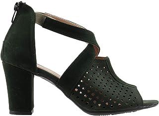 Ayakland 811-1175 Günlük 7 Cm Topuk Bayan Süet Sandalet Ayakkabı YEŞİL