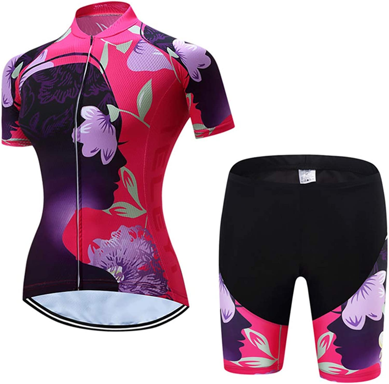 Dame Radtrikot Atmungsaktive Fahrradbekleidung Set Trikot Kurzarm + Radhose mit Sitzpolster für Radsport