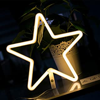 ENUOLI LED Neon Sign Star Neon Lights Warm White Neon Wall Light Battery or USB Operated Night Light LED Lights Wall Decoration for Girls Bedroom Living Room Christmas Party as Kids Gift