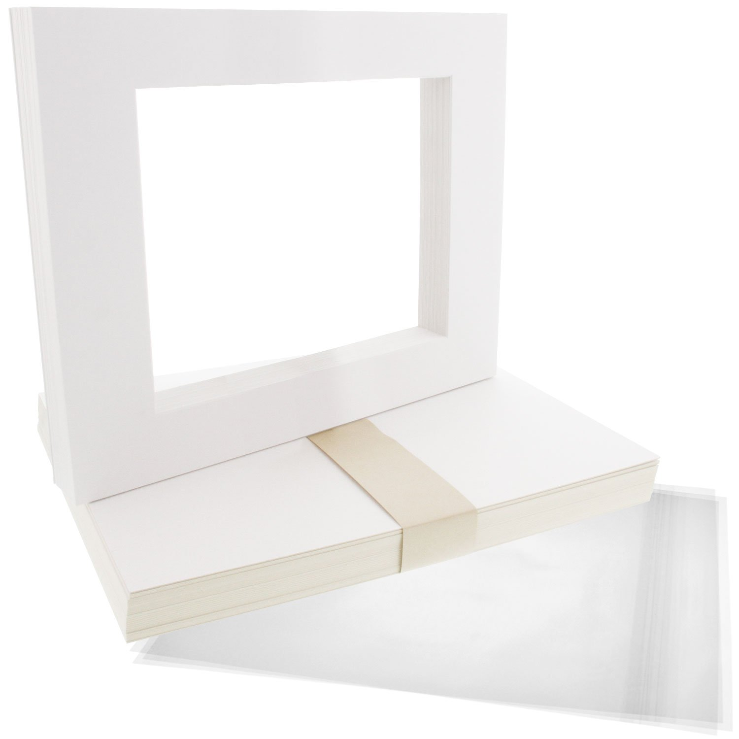 US Art Supply Art Mats Acid-Free Pre-Cut 5x7 White Picture Mat Matte Sets. Includes a Pack of 25 White Core Bevel Cut Mattes for 4x6 Photos, Pack of 25 Backers & 25 Clear Sleeves Bags