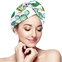 Watercolor Cactus Plant Shower Cap For Women - Strong water absorption, Reusable Microfiber Hair Towel Hair Fast Drying Ha...