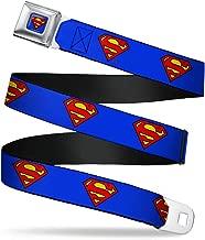 Buckle-Down Belt Seatbelt Buckle Superman Shield Blue Mens Womens Kids Adjustable